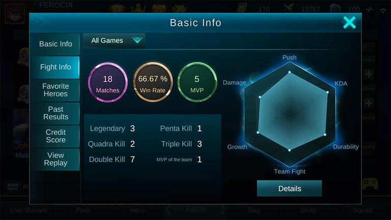 Mobile Legends Personal Stats